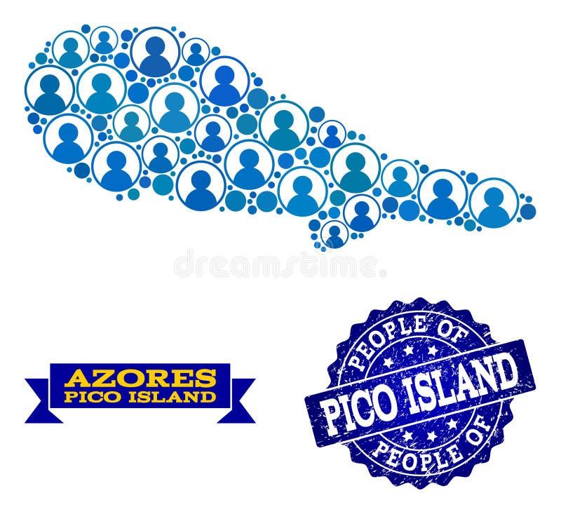 Composición de la gente del mapa de mosaico de Pico Island y del sello de la desolación libre illustration