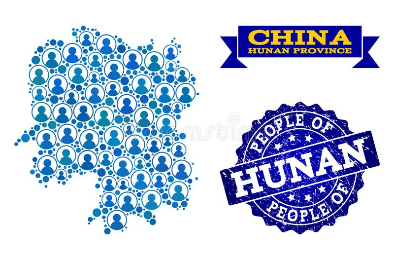 Composición de la gente del mapa de mosaico de la provincia de Hunán y del sello del sello del Grunge stock de ilustración