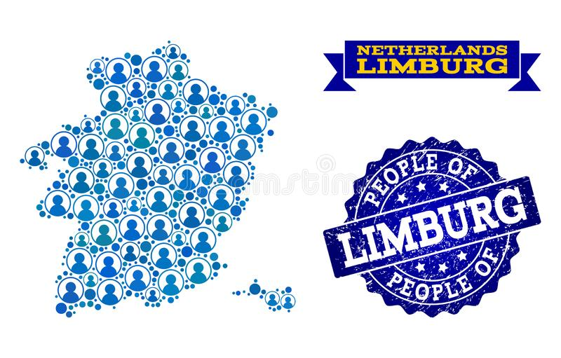 Composición de la gente del mapa de mosaico de la provincia de Limburgo y del sello de la desolación libre illustration