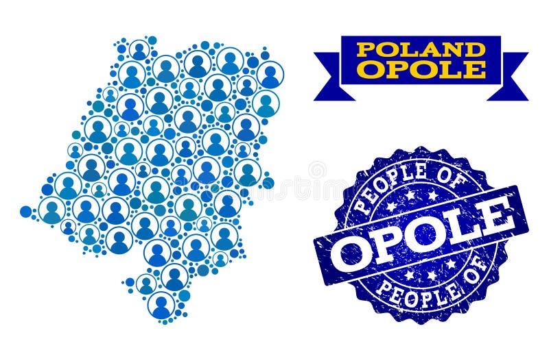 Composición de la gente del mapa de mosaico de la provincia de Opole y del sello del Grunge libre illustration