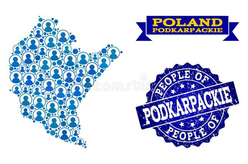 Composición de la gente del mapa de mosaico de la provincia de Podkarpackie y del sello texturizado stock de ilustración