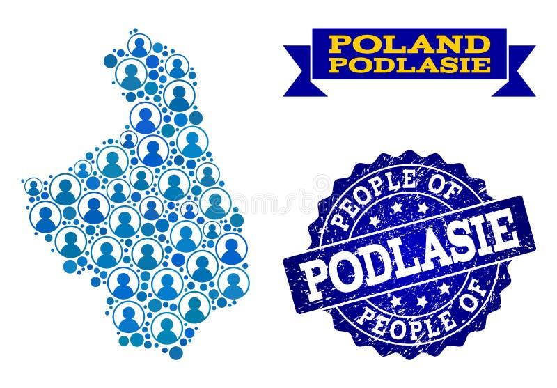 Composición de la gente del mapa de mosaico de la provincia de Podlasie y del sello del Grunge ilustración del vector