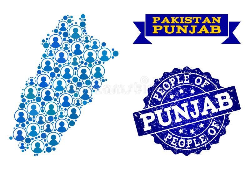 Composición de la gente del mapa de mosaico de la provincia de Punjab y del sello texturizado del sello libre illustration
