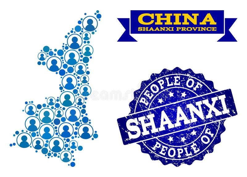 Composición de la gente del mapa de mosaico de la provincia de Shaanxi y del sello rasguñado del sello ilustración del vector