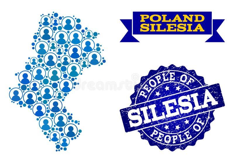 Composición de la gente del mapa de mosaico de la provincia de Silesia y del sello texturizado stock de ilustración
