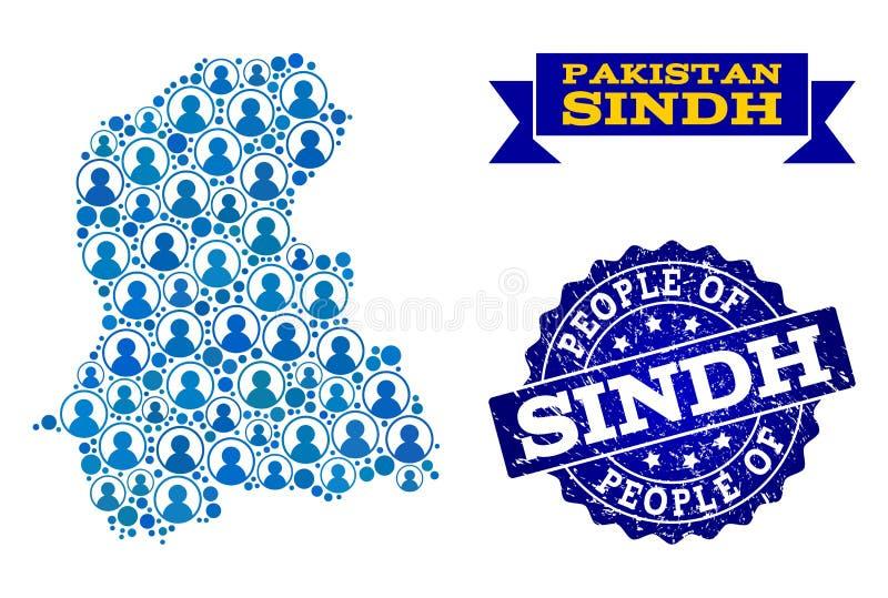 Composición de la gente del mapa de mosaico de la provincia de Sind y del sello texturizado stock de ilustración