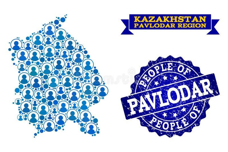 Composición de la gente del mapa de mosaico de la región de Pavlodar y del sello del Grunge libre illustration