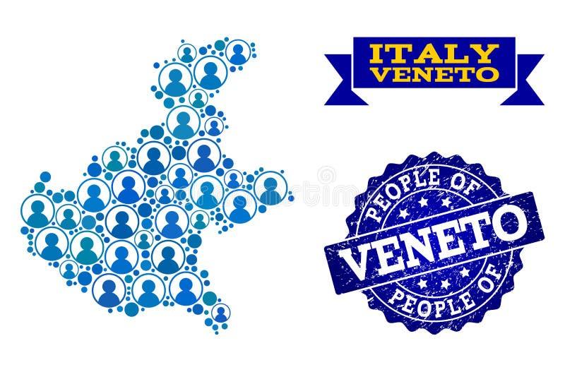 Composición de la gente del mapa de mosaico de la región de Véneto y del sello texturizado ilustración del vector