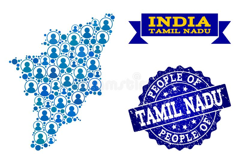 Composición de la gente del mapa de mosaico del sello del estado y de la desolación del Tamil Nadu stock de ilustración
