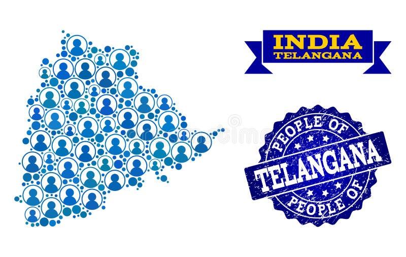 Composición de la gente del mapa de mosaico del sello del estado y de la desolación de Telangana stock de ilustración
