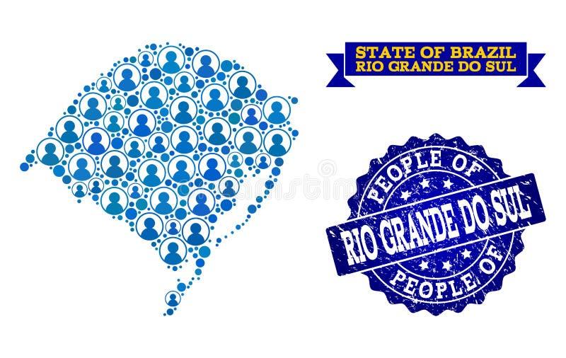 Composición de la gente del mapa de mosaico del sello de Rio Grande Do Sul State y del sello de la desolación ilustración del vector