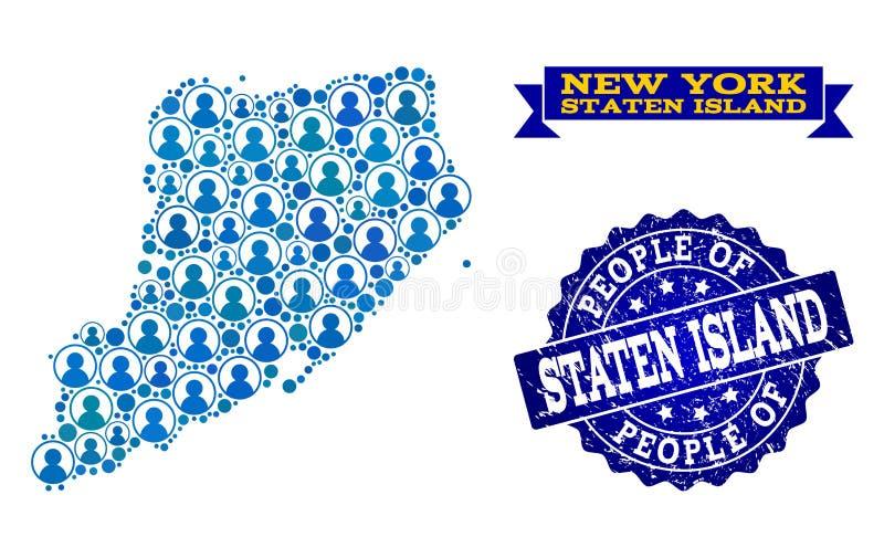 Composición de la gente del mapa de mosaico de Staten Island y del sello del Grunge libre illustration