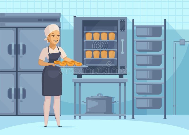 Composición de la historieta de la producción de la panadería ilustración del vector