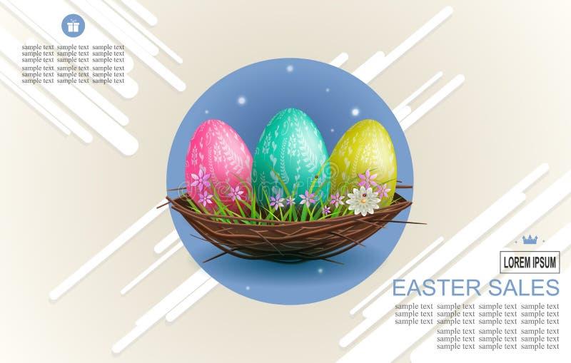 Composición de la luz de Pascua con las rayas y tres huevos en una jerarquía, libre illustration