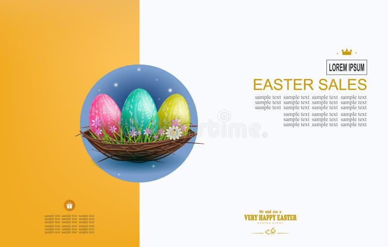 Composición de la luz de Pascua con tres huevos en una jerarquía, postal stock de ilustración