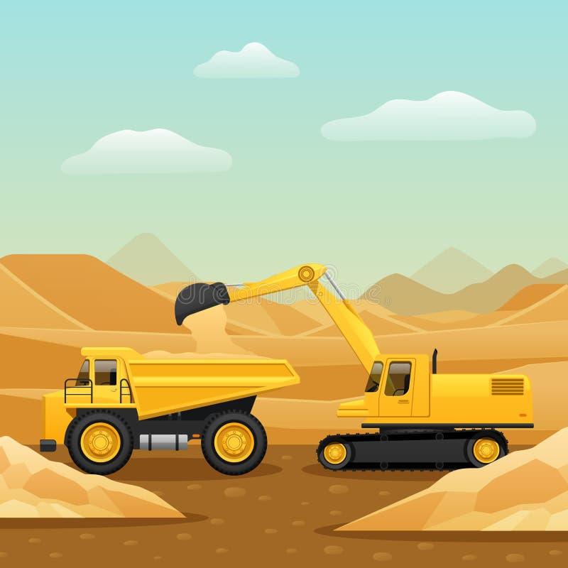 Composición de la maquinaria de construcción stock de ilustración