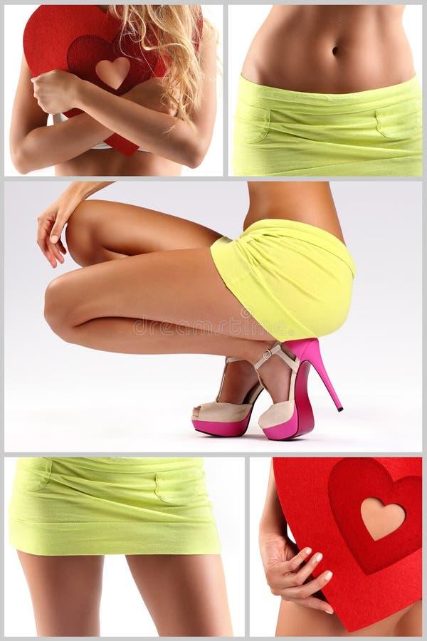 Composición de la muchacha con los zapatos, el corazón y el miniskirt foto de archivo libre de regalías