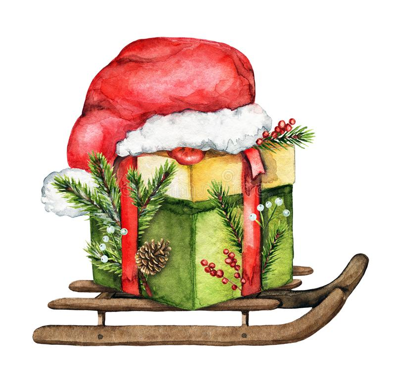 Composición de la Navidad de la acuarela con la caja de regalo, trineo, ` s de Papá Noel libre illustration