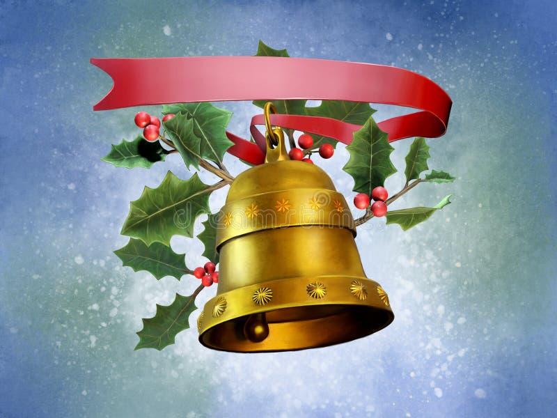 Composición de la Navidad con una campana ilustración del vector