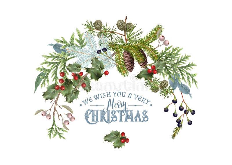 Composición de la Navidad de la rama ilustración del vector