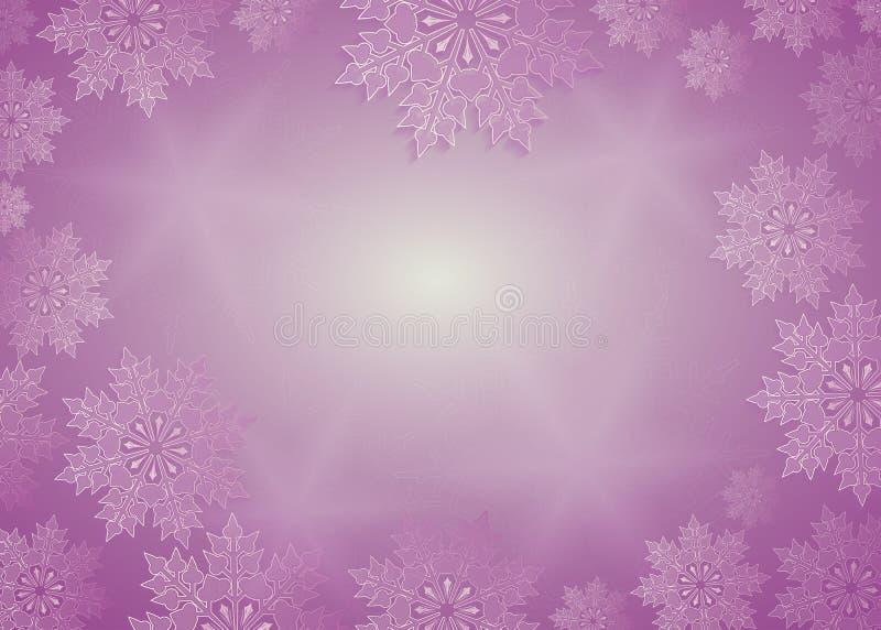Composición de la Navidad de la tonalidad púrpura con los copos de nieve blancos preciosos, marco stock de ilustración