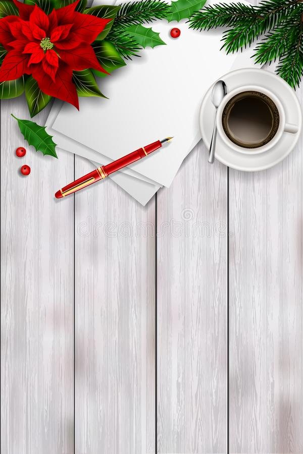 Composición de la opinión superior de la Navidad en la tabla de madera ilustración del vector