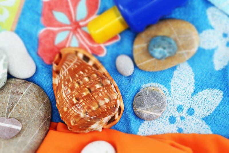 Composición de la playa del verano, estilo del vintage imagen de archivo