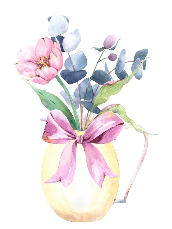 Composición de la primavera con el ramo pintado a mano de la acuarela con las flores salvajes, el eucalipto y las ramas en un jar ilustración del vector