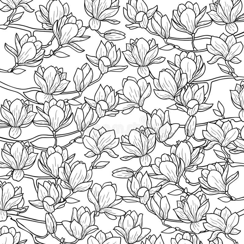 Composición de la primavera de la magnolia ilustración del vector
