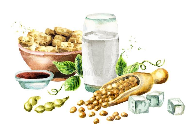Composición de la soja con las sojas, la leche, la carne, el queso de soja y la salsa Ilustración de la acuarela imagenes de archivo
