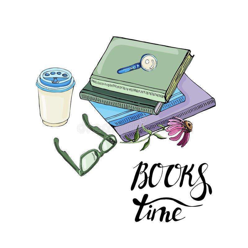Composición de la tinta exhausta de la mano y del bosquejo coloreado con los libros, la flor del echinacea, el vidrio, la taza de libre illustration