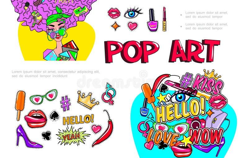 Composición de las etiquetas engomadas de la muchacha de la moda ilustración del vector