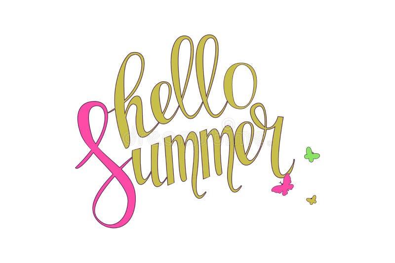 Composición de las letras del cepillo Hola verano ilustración del vector
