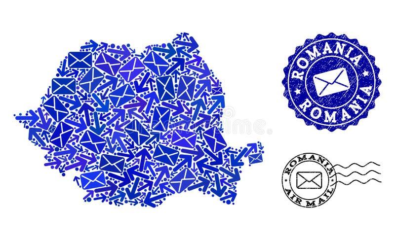 Composici?n de las maneras del poste del mapa de mosaico de Rumania y de sellos texturizados ilustración del vector