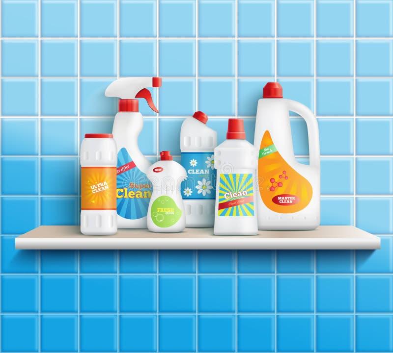 Composición de las mercancías de los cuidados en casa stock de ilustración