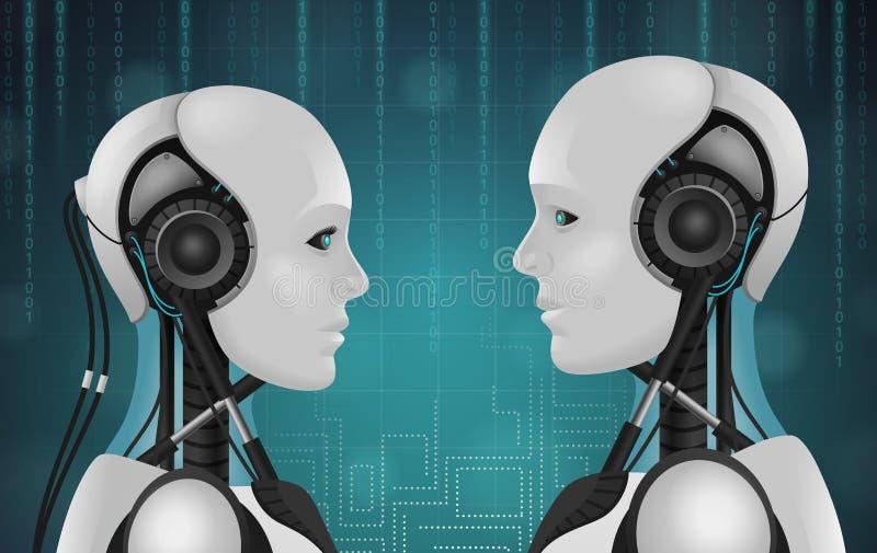 Composición de los androides 3D del robot stock de ilustración