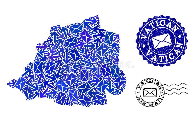 Composición de los caminos del poste del mapa de mosaico de los sellos del Vaticano y del Grunge libre illustration