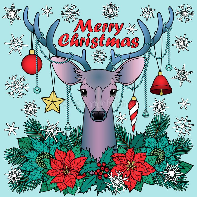 Composición de los ciervos de la Feliz Navidad libre illustration