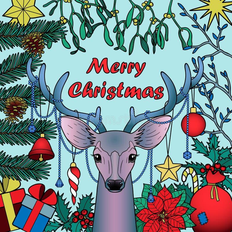 Composición de los ciervos de la Feliz Navidad stock de ilustración