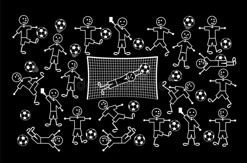 Composición de los dibujos de la historieta de pequeños hombres Fútbol y fútbol Gráfico del vector ilustración del vector