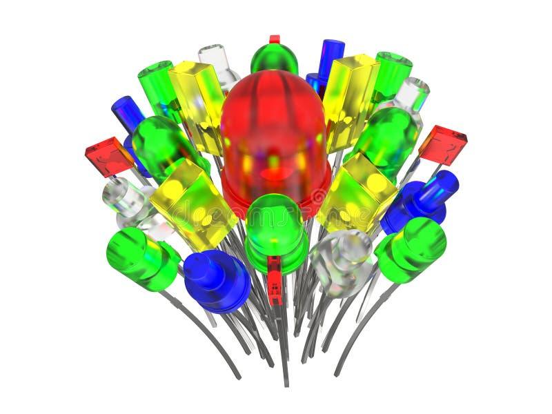 Composición de los diodos electroluminosos en blanco libre illustration