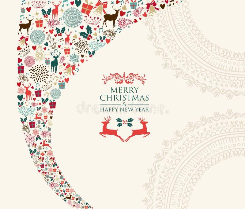 Composición de los elementos del vintage de la Feliz Navidad ilustración del vector