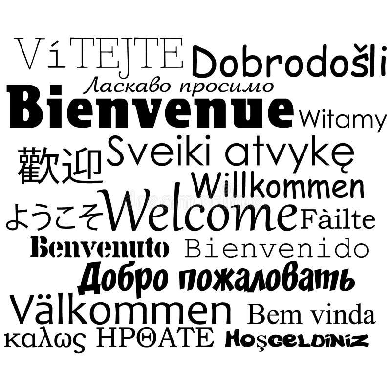 Composición de los mensajes de la 'recepción 'en muchas diversas idiomas escritas stock de ilustración