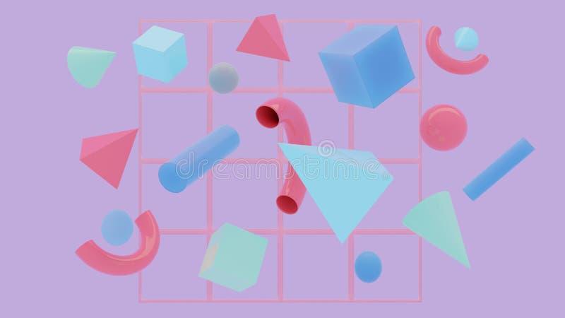Composición de los primitivos El vuelo abstracto forma en el movimiento con la rejilla aislada en fondo púrpura representación 3d foto de archivo libre de regalías