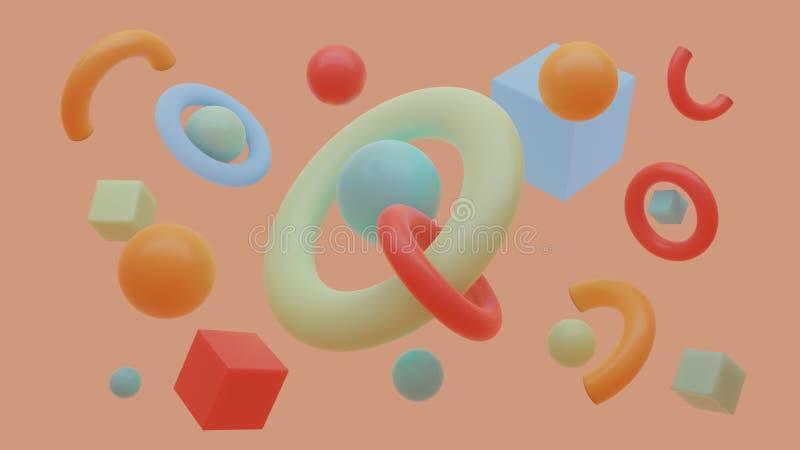 Composición de los primitivos El vuelo abstracto forma en el movimiento con la rejilla aislada en fondo púrpura representación 3d imagen de archivo libre de regalías