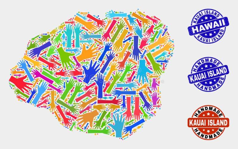 Composición de mano del mapa de la isla de Kauai y de sellos hechos a mano texturizados ilustración del vector