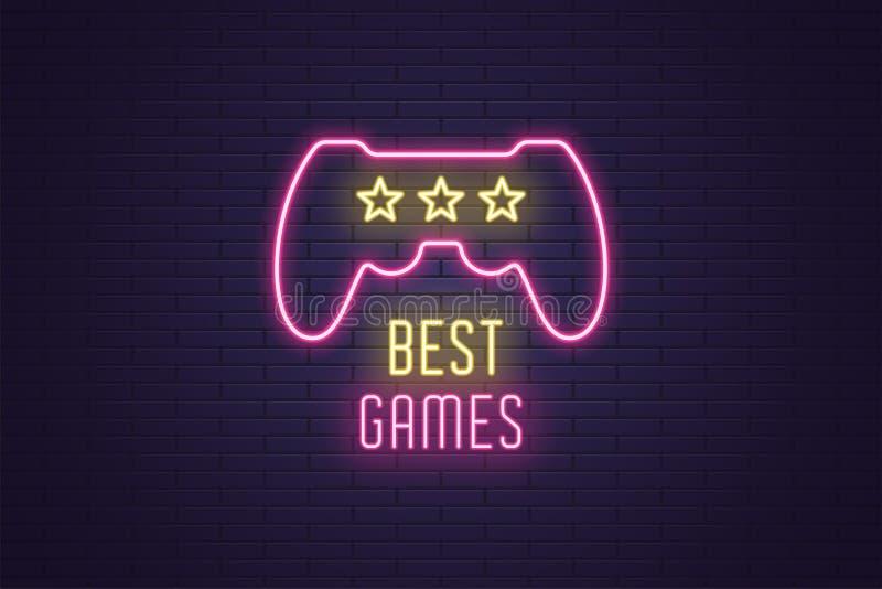 Composición de neón de los juegos del mejor del título juego stock de ilustración