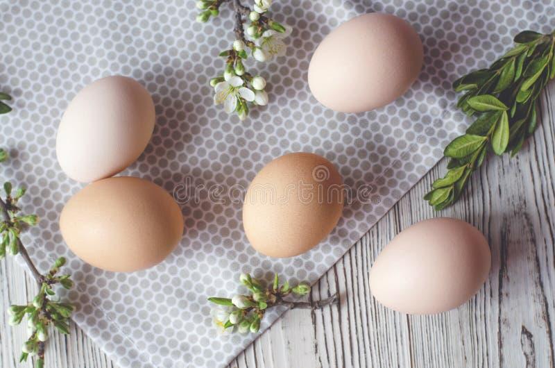 Composici?n de Pascua de huevos, de ramitas verdes y de la servilleta del pa?o imagenes de archivo