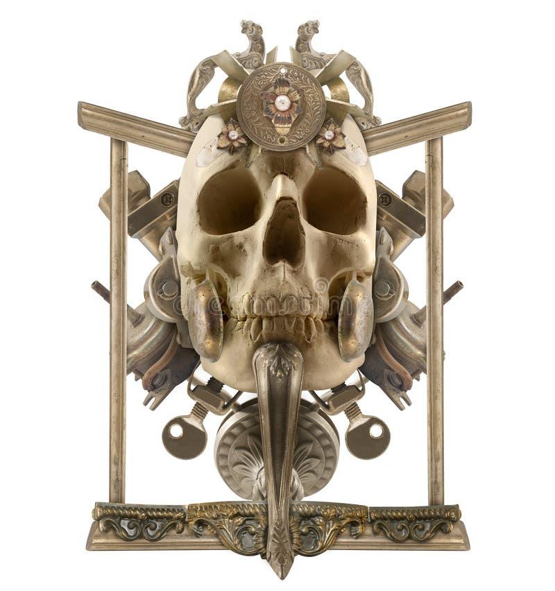 Composición de plata aislada del cráneo foto de archivo