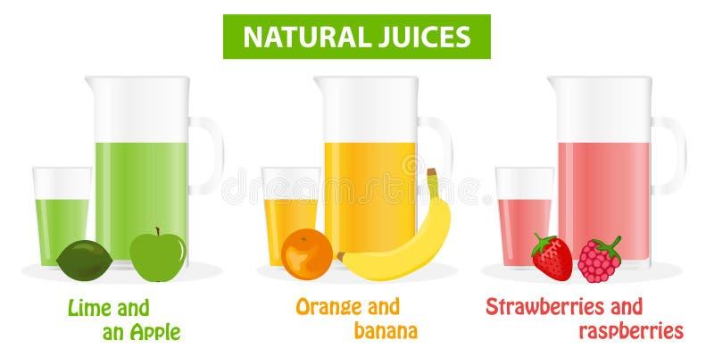 Composición de un sistema de color de jugos con las bayas y las frutas Un vidrio fijado en jugos Jugos naturales ilustración del vector